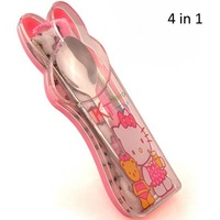 Free shipping, Hello kitty family tableware 4 in 1, Portable Travel tableware BOX SPOON CHOPSTICK TOWEL, 10 pcs/lot