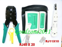 RJ45 RJ11 CAT5 KD-1 Crimper + Modular Plug + Cable Tester Network Phone Tool Kit