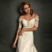 2012 european style slit neckline bride slim waist and fish tail train wedding dress formal dress wd-108