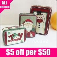 Retail Free Shipping Merry Christmas Tin Box/Cute Santa Snowman Storage Box 1set/lot