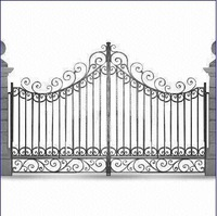 Artistic Wrought Iron Gate with Powder-coated Surface, Customized Sizes are Accepted
