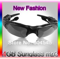 4GB 4G Sunglasses MP3 Glasses MP3 Player +Case Black