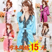 free shipping Full dress bathrobes silk smooth sexy sleepwear clothing perfection sexy lingerie A1137