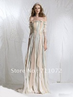 Off Shoulder Floor Length Romantic Column Chiffon Ruffles Unique Colour Zuhair Murad Wedding Dresses 2013 Bohemian Style
