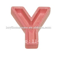 Ceramic letter and number colored candle holders stand pink letter Y holder wholesale and retail 500pcs/lot shipping discount