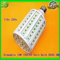 Free Shipping (1Pcs)  Energy Saving Bright for Dimmable SMD 5050 E27 18W  98 LED Corn Globe Bulbs Light Lamp  110V 220V