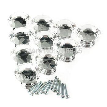 10 Pcs 40mm Crystal Glass Diamond Shape Clear Cabinet Knob Drawer Pull Handle Kitchen Door Wardrobe