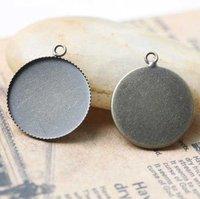 wholesale: 200pcs 25mm circle Round antique bronze pendant tray/Pendant Blank/Pendant Settings
