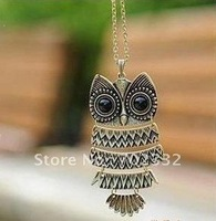 Promotion retro owl long necklace sweater chain 20pcs/lot  wholesale price free shipping