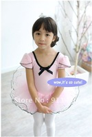 ballet tutu dance dress  1 piece pink short sleeve  tutu cotton pick size style 008