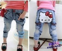 KZ-232,5 pcs/lot 2012 new style children thick jeans hello kitty girl's denim pants autumn baby trousers wholesale !