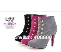 New thin High heels women solid sexy ankle boots fashion lady's buckle boots Free Shipping 1pair