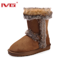 Ivg snow boots fox fur knee-high boots thermal women's shoes genuine leather waterproof boots