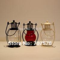 Promotion Fashion Classical Hand-held Iron + Glass Lantern Export European Classical Candlestick Storm Lantern Birthday Present