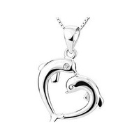 Free shipping wholesale 925 silver crest double dolphin pendant low sales