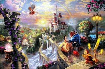Thomas Kinkade Original ( Beauty and the Beast falling in love ) Art print reproduction on canvas wall decor