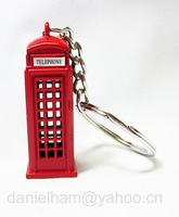 UK London keyring 2012 London Olympic souvenirs 2014 new London red metal telephone key ring free shipping !