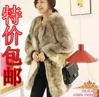 Blended-color fur coat overcoat top fox fur medium-long