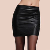 free shipping new arrival high quality PU leather pleated mini skinny sexy women formal skirt black PLUS SIZE