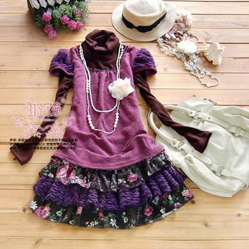 2012 long-sleeve princess autumn and winter women's dresses hot sale cheap fashion dresses (Two Pieces)