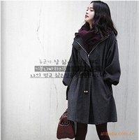 Free Shipping New Korea Style Ladies Draw string Hooded Wool Coat  ladies wool Overcoat hubble-bubble sleeve