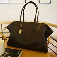 2012 brief vintage british style handbag bear charm one shoulder big bags all-match female bags