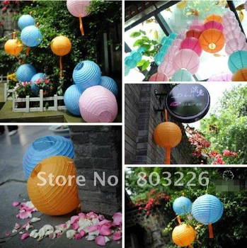 20CM Multicolor round paper lantern Romantic wedding props supplies paper lantern for Xmas Decoration Party Birthday Celebration