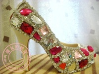 Plus size small crystal shoes wedding shoes bridal evening high heels single shoes platform elevator thin heels rhinestone red