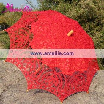 Новые стили красный Battenburg кружева, Свадебные свадебный зонтик