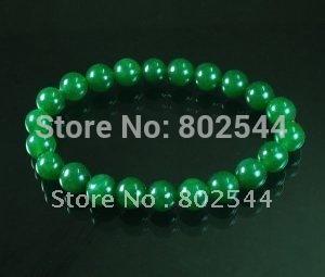 Tibetano varejo verde Jade pedra Bead budista Mala pulseira WZ223(China (Mainland))