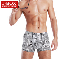 j-box men's print solid color thin boxer panties comfortable breathable rims male viscose free air mail
