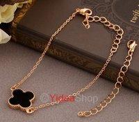 Wholesale - 1pcs Chic Black Four Clover Leaf Golden Chains Pendant Short Necklace Lucky Bracelet 261358
