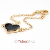 Wholesale - 2pcs Chic Black Heart Design Golden Chains Pendant Short Necklace Lucky Bracelet 261360