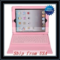 Free Shipping + Wholesale Leather Case With Bluetooth Keyboard For iPad/For iPad2 Pink Ship from USA-87004274