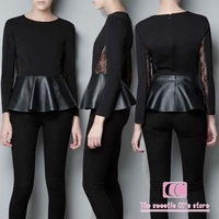 Spring and autumn fashion black wrist-length sleeve lace knitted leather patchwork slim shirt women's blouse(XS/S/M/L/XL/XXL)