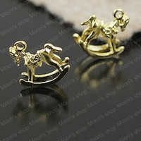 (25758)Fashion Jewelry Findings,Accessories,charm,pendant,Alloy Golden 15*15MM Horse 30PCS