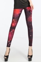 Accept Drop Ship China Post Free Shipping Red Galaxy Leggings For Women-LB13262