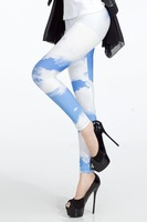 Accept Drop Ship China Post Free Shipping Sunny Sky &White Cloud Leggings Galaxy-LB13268