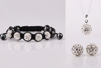 Free Shipping Wholesale 925 Silver Shamballa Beads Jewelry Set,Fashion Shamballa Necklace+Bracelet+Earrings