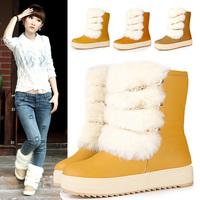 2012 autumn and winter vintage paltform platform medium-leg boots snow boots female shoes cotton boots