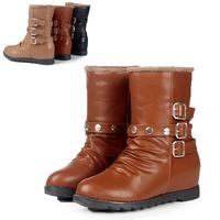Autumn boots platform flat heel flat fashion women's shoes nude color casual shoes buckle boots female shoes