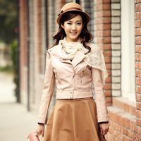 2013 autumn outerwear women's small leather clothing female short design slim PU jacket 01g3103