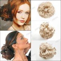 hair bun scrunchie, Synthetic Fiber Hair Bun Scrunchie Extension, Blond, Sold individually, 10x5cm,HA0035-6