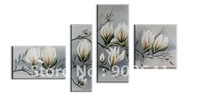 Modern oil painting Framed Hand-painted Group Flower Grey Magnolia wall art/ home decoration HD107-02