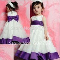 Wholesale Retail Hot Sale Double Straps White Ivory Organza Purple Satin Belt Pleat The Flower Girl Dress Childreb's Dress F067