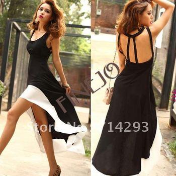 Sexy Women/Lady Deep U Neck Bare Back Backless Dress Hem Tank Swallow Tail Sleeveless Summer Long Dress free shipping 8020