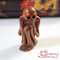 Gustless antique sherbin woodbines crafts small decoration human body apotropaic skull knopper pieces Boxwood Netsuke