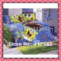 3pcs Bedding Set Cartoon Spongebob Cotton children Kid Bedding Free Shipping