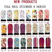 24sheets 12pcs/sheet  Free shipping + Fashion full cover water nail art sticker for wholesale