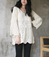 55Autumn loose yarn vintage sweet cutout crochet pullover ruffle sweater